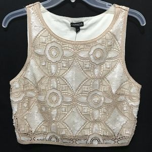 Express Crocheted Metallic Sequin Embellished Tank